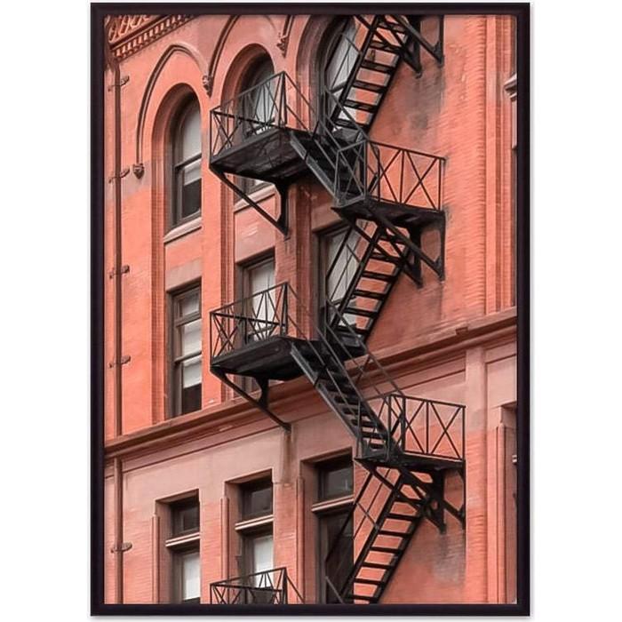 Постер в рамке Дом Корлеоне Пожарная лестница 50x70 см