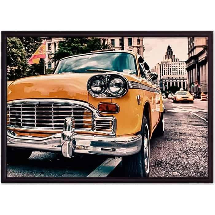 Постер в рамке Дом Корлеоне Ретро такси Нью-Йорк 50x70 см