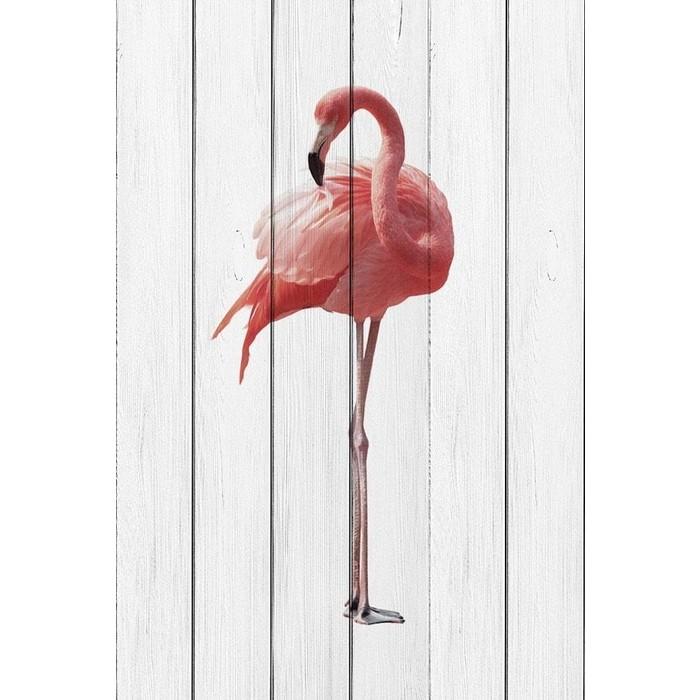 Картина на дереве Дом Корлеоне Розовый фламинго 100x150 см