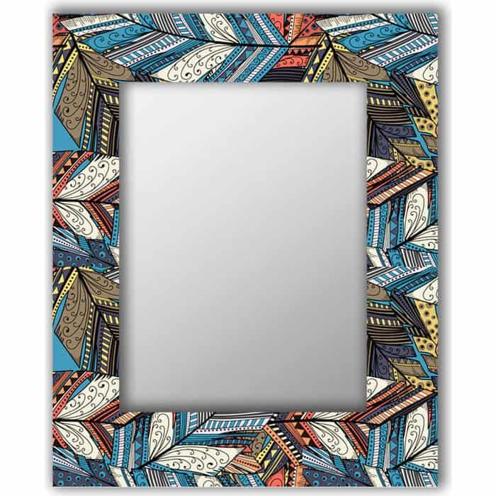 Настенное зеркало Дом Корлеоне Синие перья 80x80 см