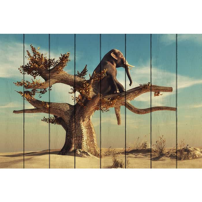 Картина на дереве Дом Корлеоне Слон 100x150 см