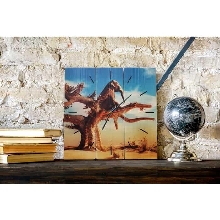 Настенные часы Дом Корлеоне Слон на дереве 30x30 см