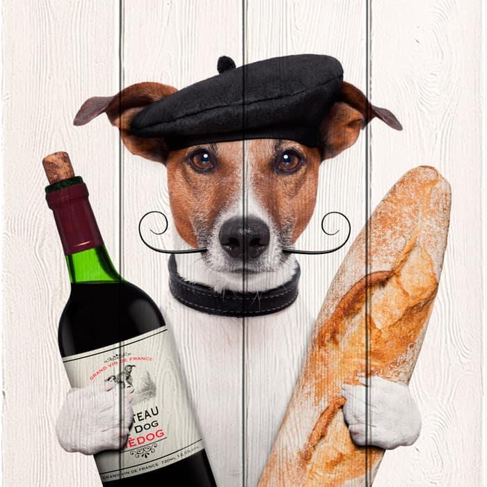 Картина на дереве Дом Корлеоне Собака с вином 90x90 см