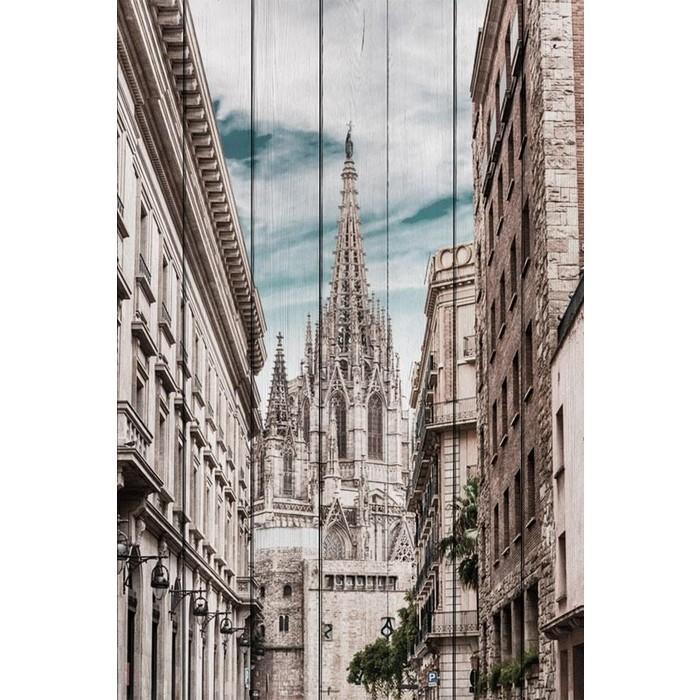 Картина на дереве Дом Корлеоне Собор Барселона 40x60 см