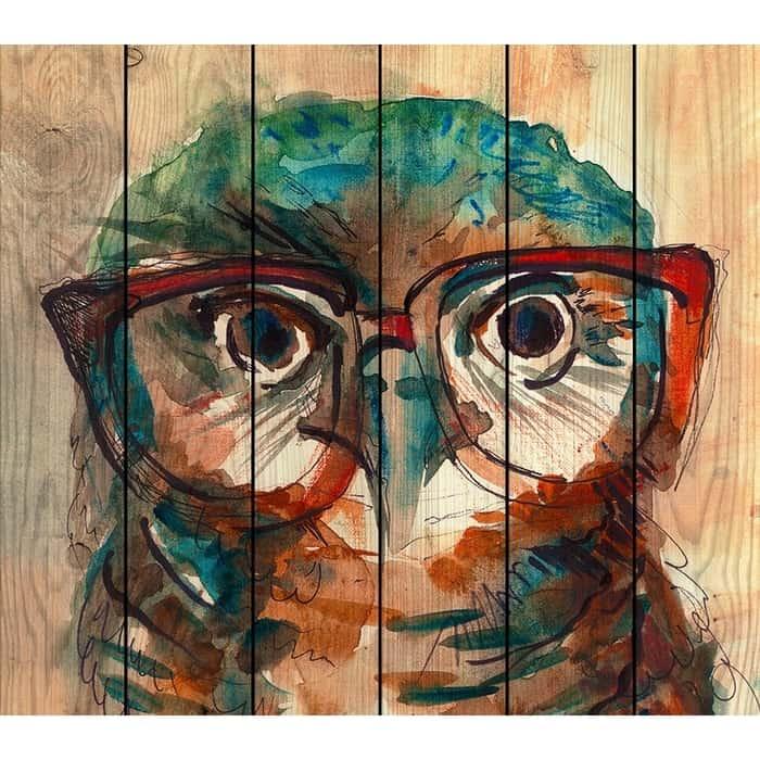 Картина на дереве Дом Корлеоне Сова в очках 150x150 см