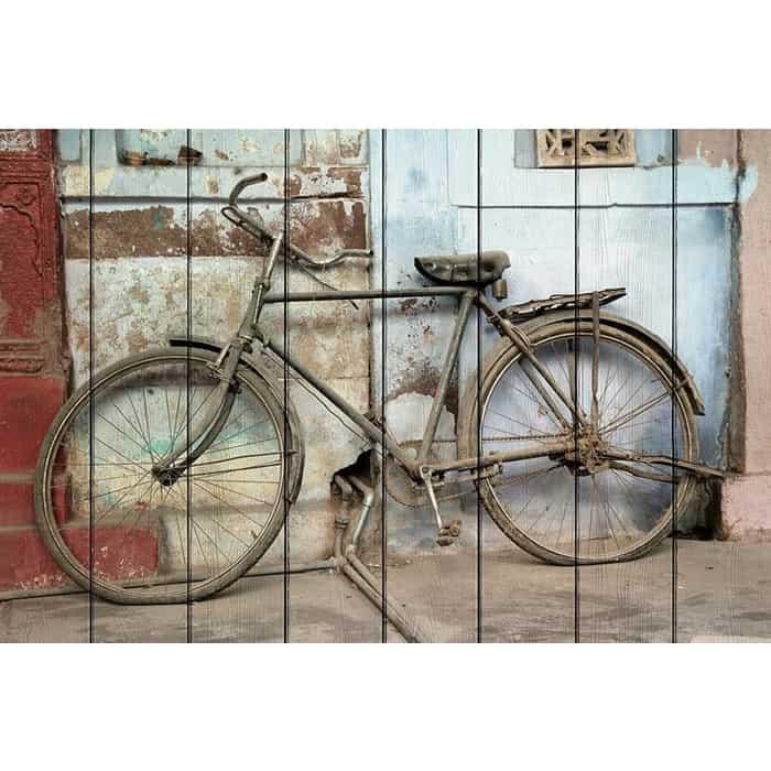 Картина на дереве Дом Корлеоне Старый велосипед 80x120 см