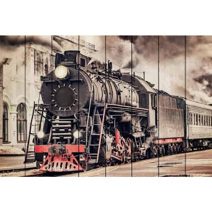 Картина на дереве Дом Корлеоне Старый поезд 100x150 см