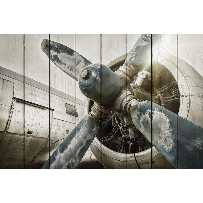 Картина на дереве Дом Корлеоне Старый самолет 100x150 см