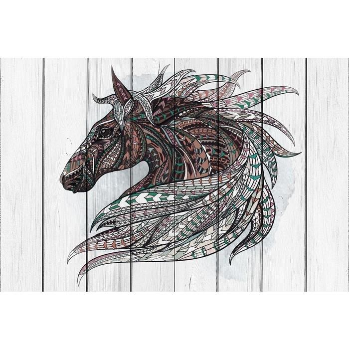 Картина на дереве Дом Корлеоне Тотем Лошадь 120x120 см