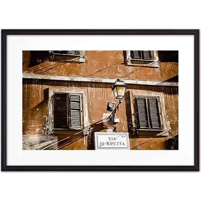 Постер в рамке Дом Корлеоне Фонарь на Via di Ripetta 50x70 см