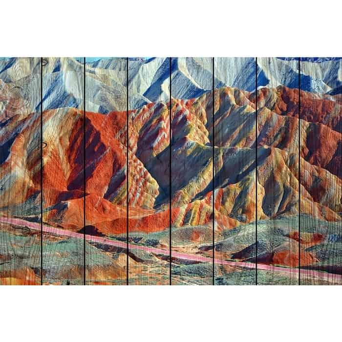 Картина на дереве Дом Корлеоне Цветные горы 60x90 см