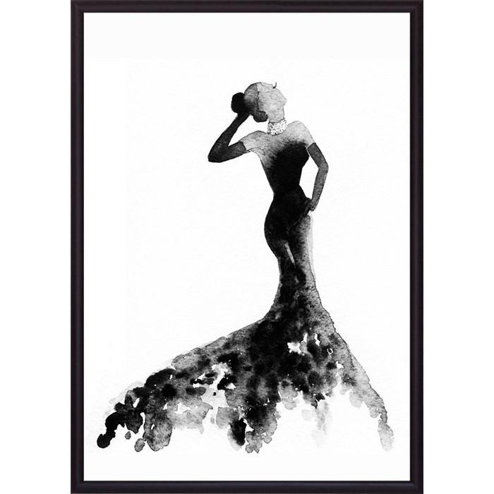 Постер в рамке Дом Корлеоне Черное платье Акварель 2 21x30 см