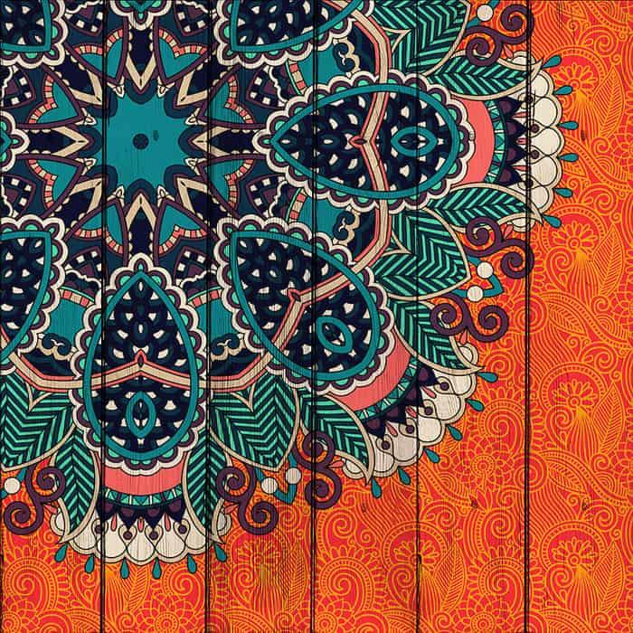 Картина на дереве Дом Корлеоне Этника Оранж 120x120 см