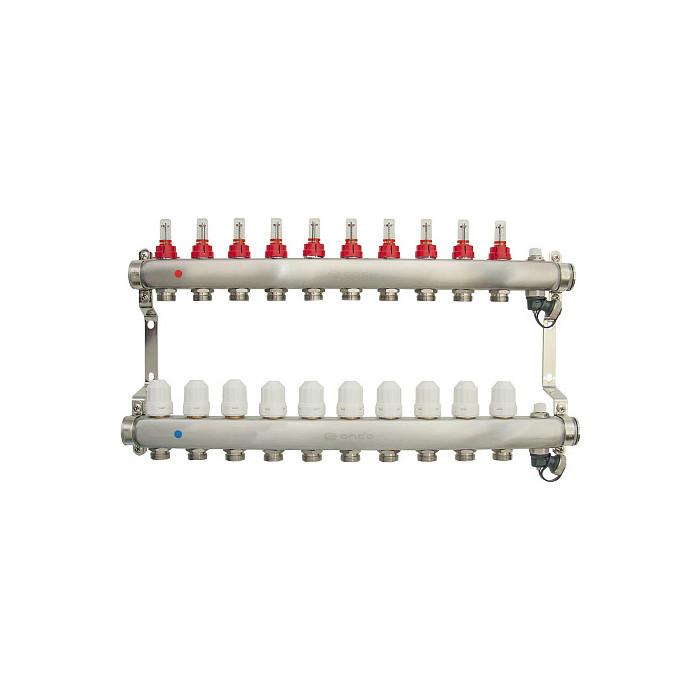 Коллекторная группа Ondo 10 выхода с расходомерами и термостатическими клапанами (OKGSET10)