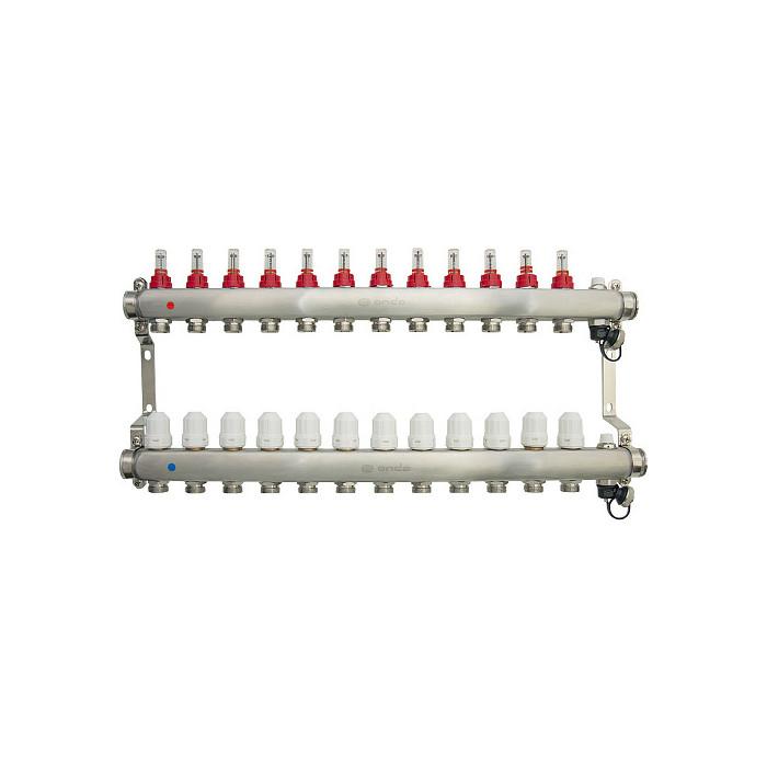 Коллекторная группа Ondo 12 выхода с расходомерами и термостатическими клапанами (OKGSET12)
