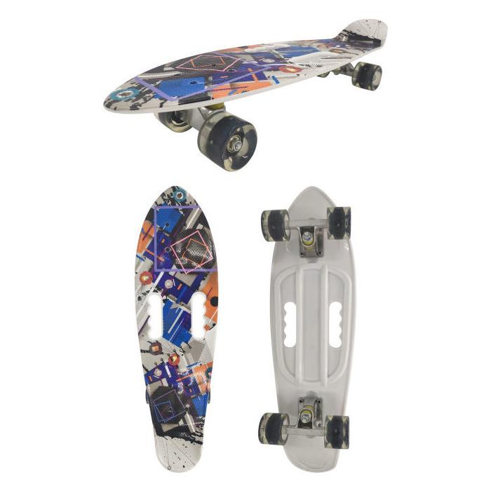 детский лонгборд navigator т17044 26x8 синий Скейт пластиковый Navigator пластиковые колеса полиуретан Т17044