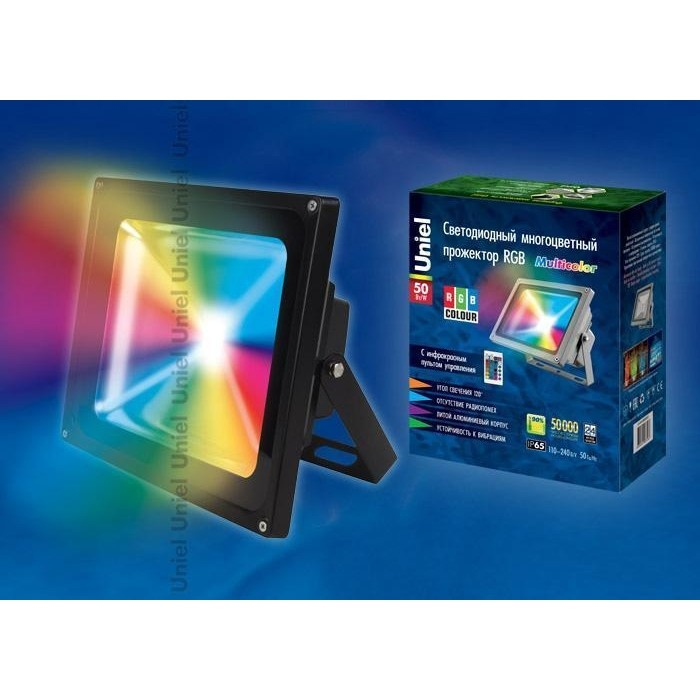 Прожектор светодиодный Uniel ULF-S01-50W/RGB/RC IP65 110-240B