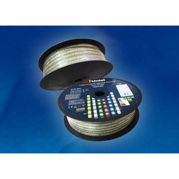 Светодиодная влагозащищенная лента Uniel ULS-2835-60LED/m-10mm-IP67-220V-8W/m-50M-W