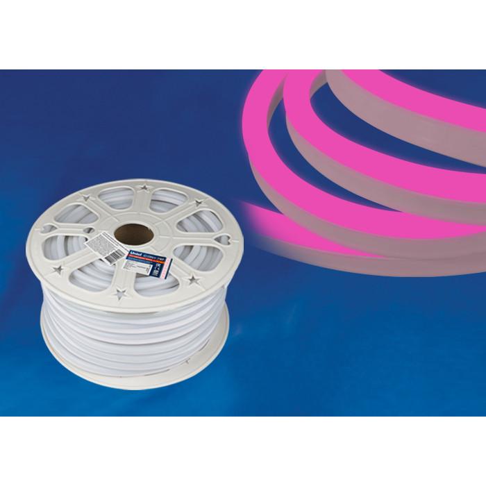 Светодиодная влагозащищенная лента Uniel ULS-N21-2835-120LED/m-8mm-IP67-220V-8W/m-50M-Pink