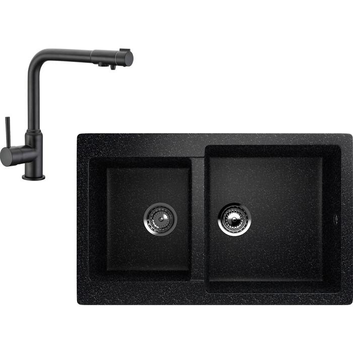 Кухонная мойка и смеситель EcoStone ES-028 Kaiser Teka черная (ES-28-308, 13044-9)