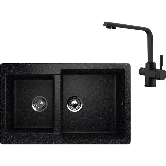 Кухонная мойка и смеситель EcoStone ES-028 Kaiser Decor черная (ES-28-308, 40144-9)