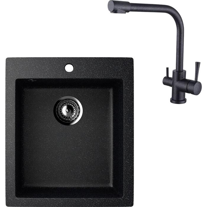 Кухонная мойка и смеситель EcoStone ES-014 Kaiser Merkur черная (ES-14-308, 26044-2)