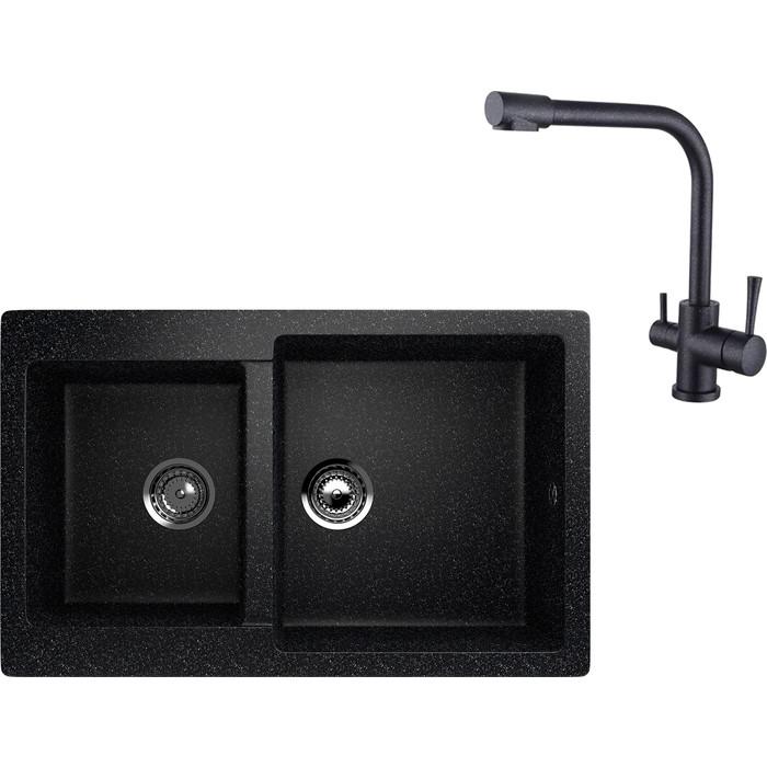 Кухонная мойка и смеситель EcoStone ES-028 Kaiser Merkur черная (ES-28-308, 26044-2)