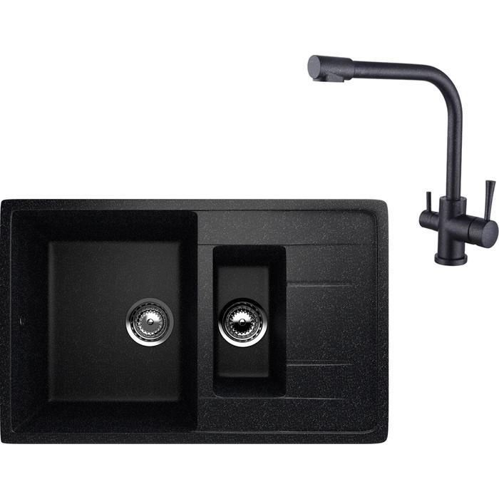 Кухонная мойка и смеситель EcoStone ES-022 Kaiser Merkur черная (ES-22-308, 26044-2)