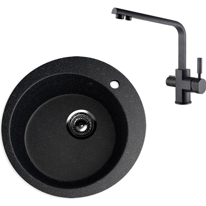 Кухонная мойка и смеситель EcoStone ES-013 Kaiser Decor черная (ES-13-308, 40144-2)