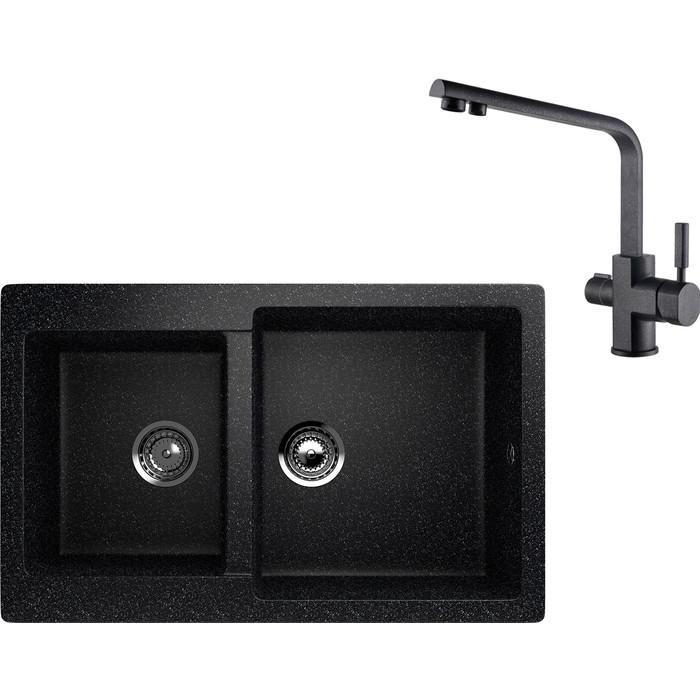 Кухонная мойка и смеситель EcoStone ES-028 Kaiser Decor черная (ES-28-308, 40144-2)