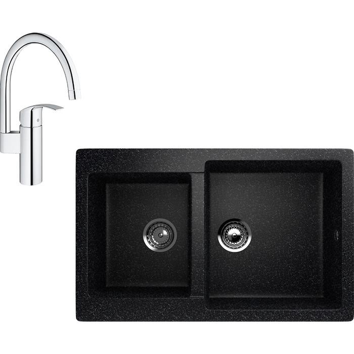 Кухонная мойка и смеситель EcoStone ES-028 Grohe Eurosmart черная (ES-28-308, 33202002)