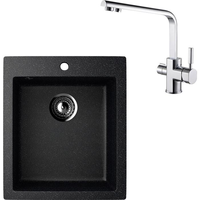 Кухонная мойка и смеситель EcoStone ES-014 Kaiser Decor черная (ES-14-308, 40144)