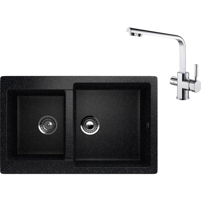 Кухонная мойка и смеситель EcoStone ES-028 Kaiser Decor черная (ES-28-308, 40144)