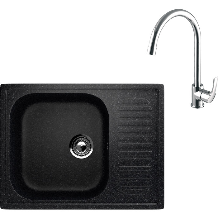 Кухонная мойка и смеситель EcoStone ES-018 Lemark Plus Strike черная (ES-18-308, LM1105C)