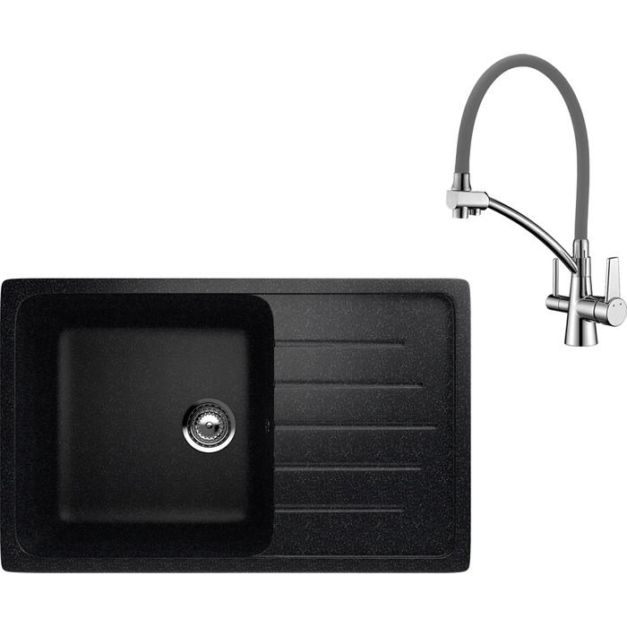 Кухонная мойка и смеситель EcoStone ES-019 Lemark Comfort черная (ES-19-308, LM3071C-Gray)