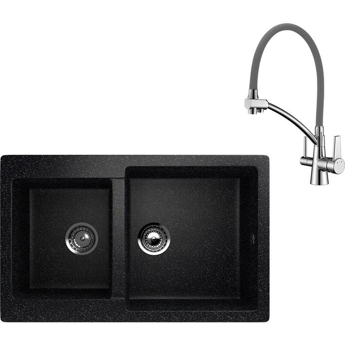 Кухонная мойка и смеситель EcoStone ES-028 Lemark Comfort черная (ES-28-308, LM3071C-Gray)
