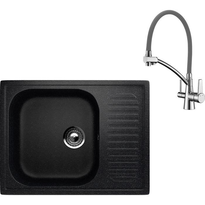 Кухонная мойка и смеситель EcoStone ES-018 Lemark Comfort черная (ES-18-308, LM3071C-Gray)