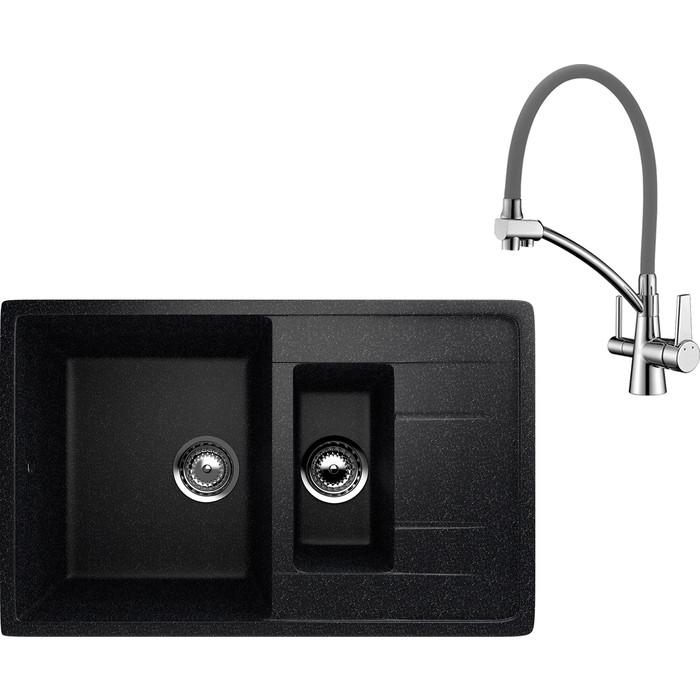 Кухонная мойка и смеситель EcoStone ES-022 Lemark Comfort черная (ES-22-308, LM3071C-Gray)