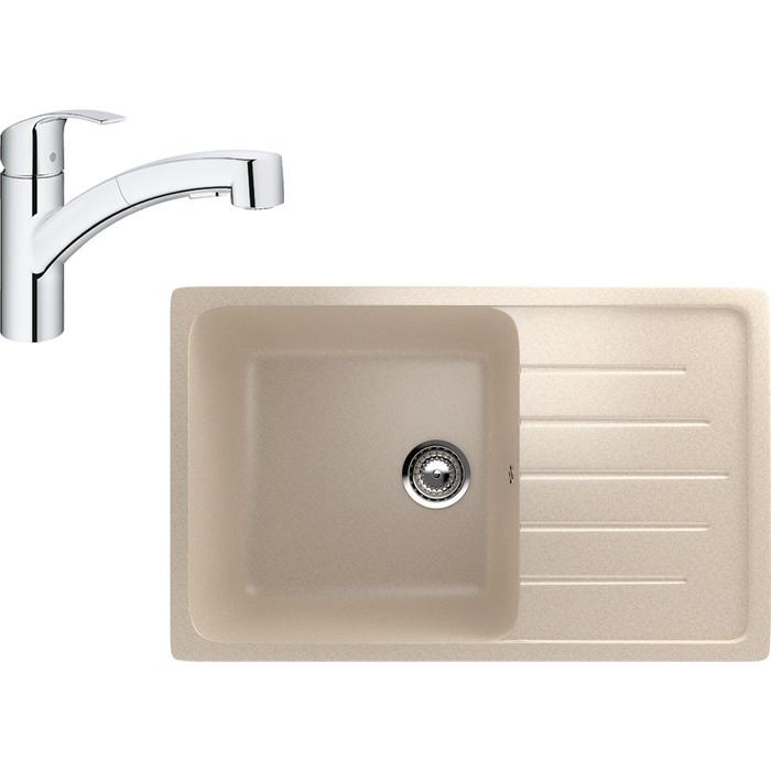 Кухонная мойка и смеситель EcoStone ES-019 Grohe Eurosmart бежевая (ES-19-328, 30305000)