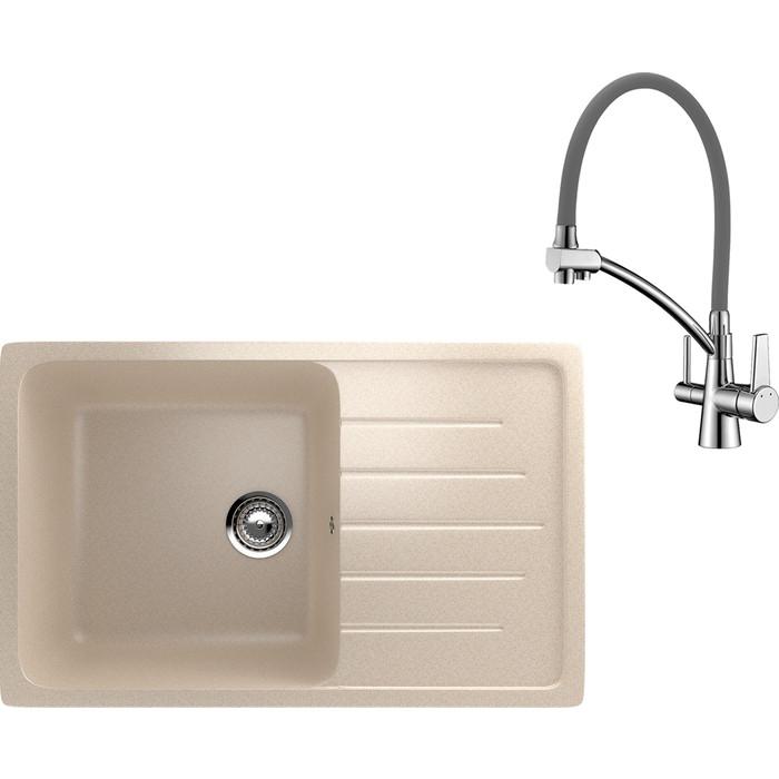 Кухонная мойка и смеситель EcoStone ES-019 Lemark Comfort бежевая (ES-19-328, LM3071C-Gray)
