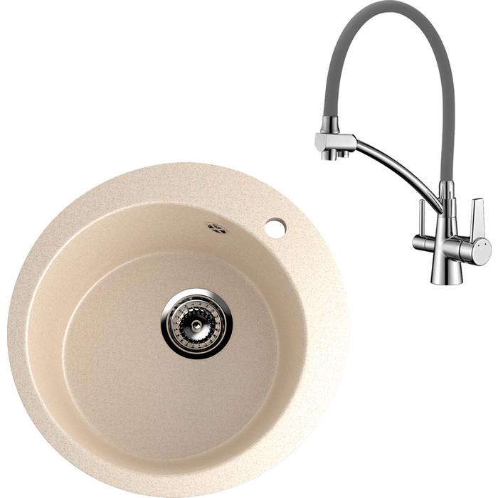 Кухонная мойка и смеситель EcoStone ES-013 Lemark Comfort бежевая (ES-13-328, LM3071C-Gray)