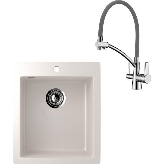 Кухонная мойка и смеситель EcoStone ES-014 Lemark Comfort белая (ES-14-331, LM3071C-Gray)