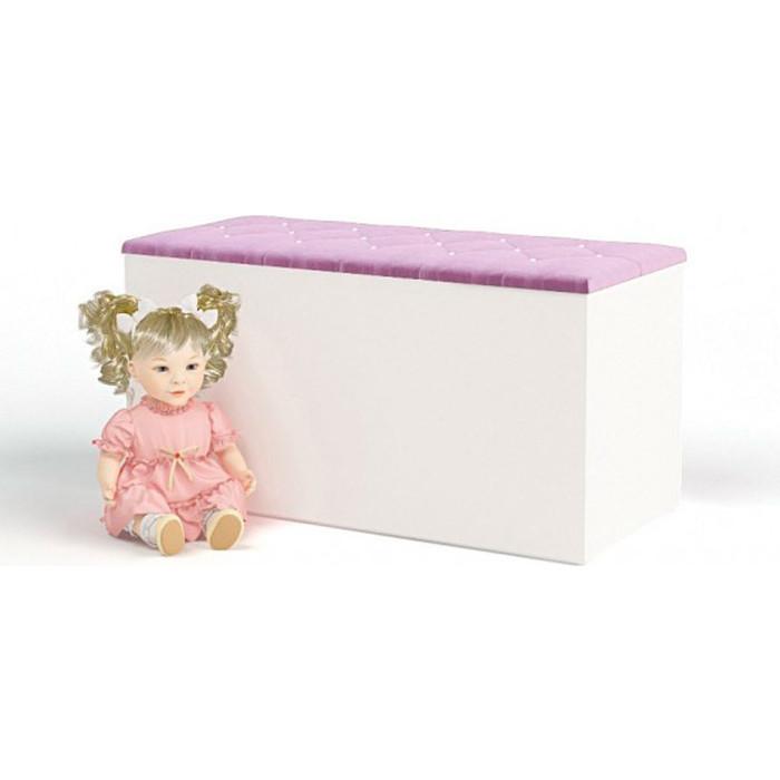 Ящик для игрушек ABC-KING Princess, Фея кожанная крышка со стразами Сваровски темно-сиреневая
