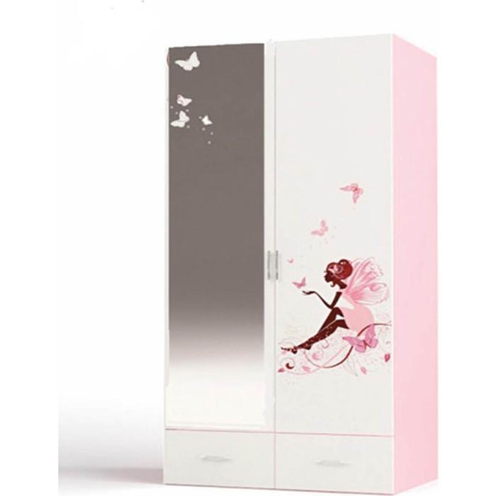 Шкаф 2-х дверный ABC-KING Фея с зеркалом Феей розовый