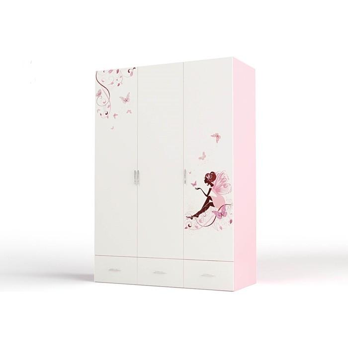 Шкаф ABC-KING Фея без зеркал розовый 3-х дверный