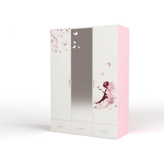 Шкаф ABC-KING Фея с зеркалом розовый 3-х дверный