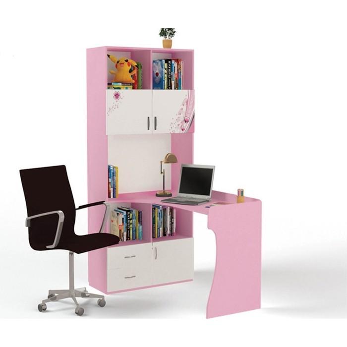 Стол-стеллаж ABC-KING Princess левый розовый