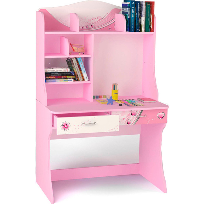Стол ABC-KING Princess розовый с надстройкой