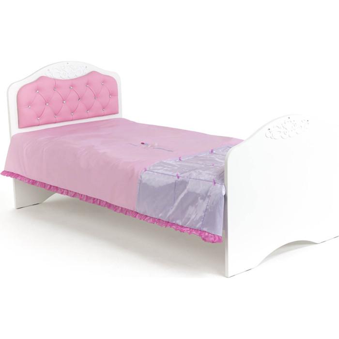 Кровать-классика ABC-KING Princess №2 розовая кожа/стразы Сваровски 160x90 без ящика кровать классика abc king человек паук с рисунком 160x90 без ящика