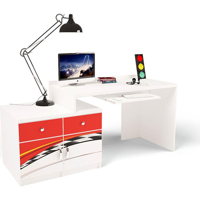 Стол модульный Г тумба ABC-KING 400+400 La-Man левый красный